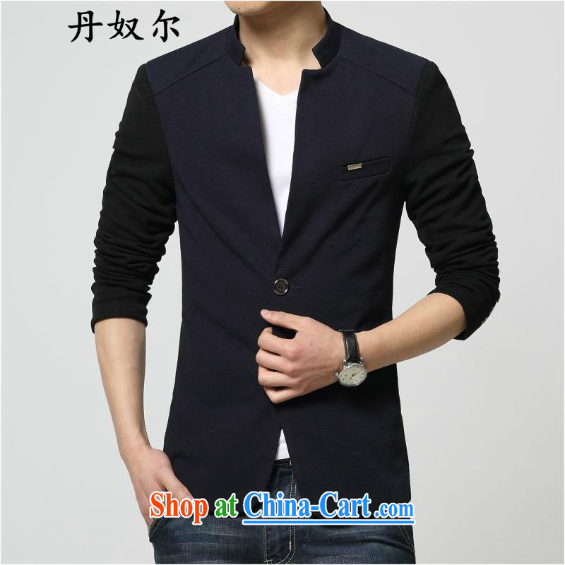 The lighthouses, Dan slavery, and smock autumn suit men's Leisure Suit Korean Beauty small suits, the trendy spelling color for men's jackets dark blue 185/3 XL .