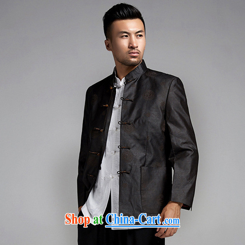 De-church days, fragrant cloud yarn Man Tang jackets high quality embroidery decoration are installed China wind male black and brown XL, wind, and shopping on the Internet
