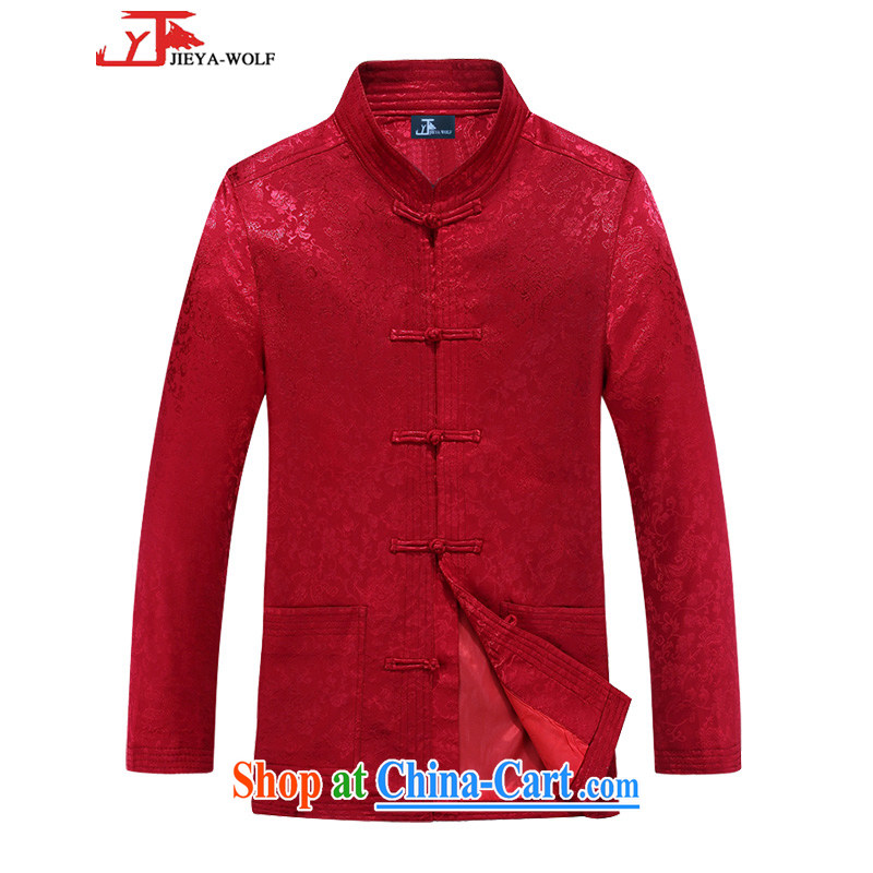 Jack And Jacob - Wolf JIEYA - WOLF new autumn and winter Chinese men's T-shirt national fashion clothing jacket edition smock leisure Tai Chi, red 170_M