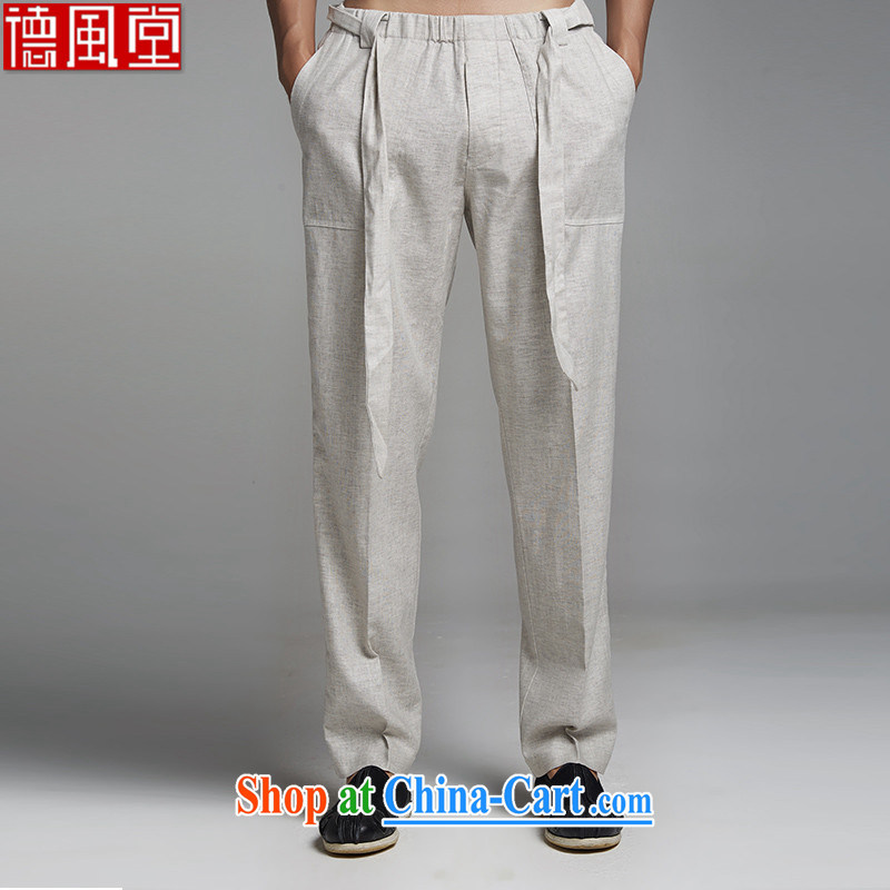 De-tang Kirin 2015 cotton Chinese autumn Elasticated waist trousers China wind pants men's short pants with stylish light gray 2 XL
