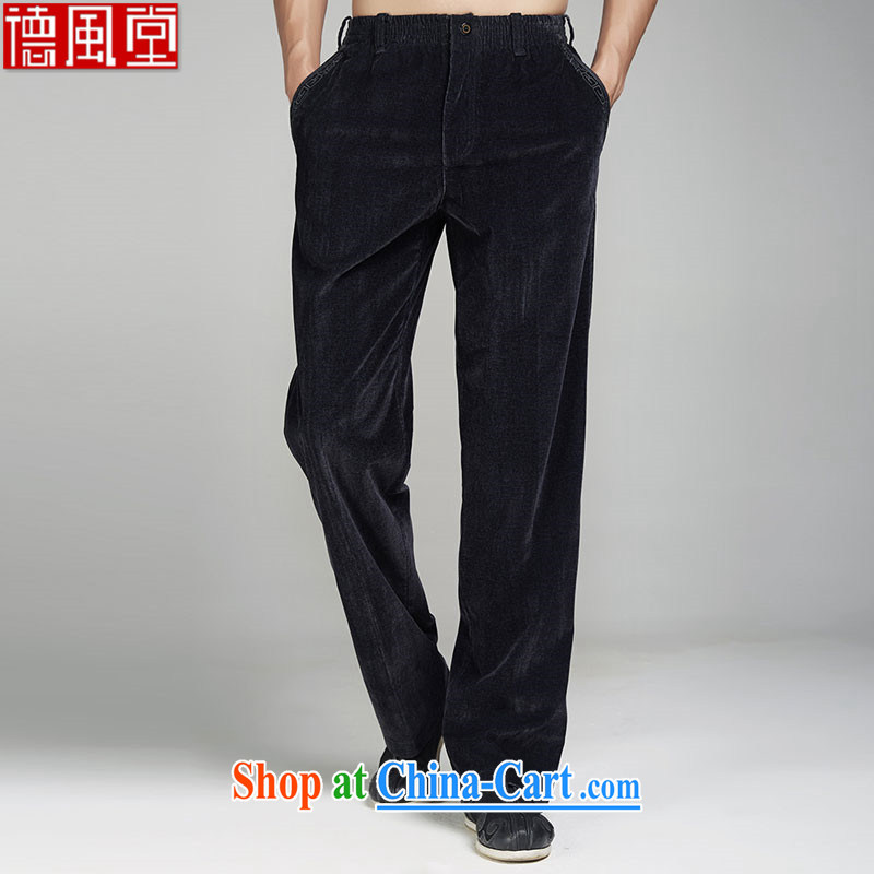 De-tong logged cloud 2015 standard male Chinese Winter pants polyamide embroidery China wind Business Edition, men's black 2 XL