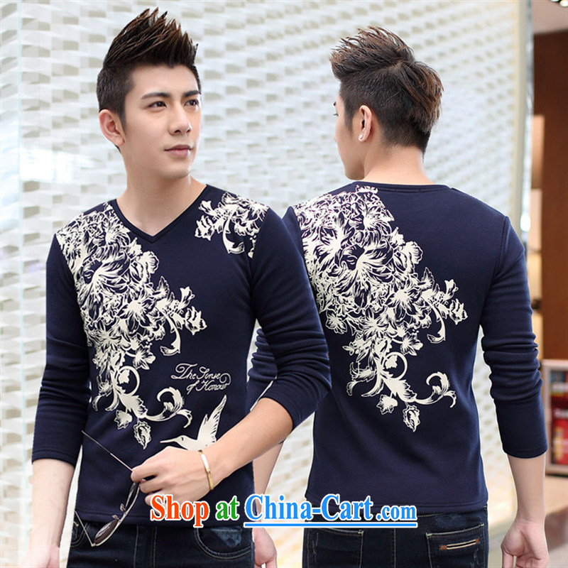 Health Concerns clothing fall 2015 the men's casual long-sleeved T shirt China wind cotton V collar solid T-shirt royal blue?2 XL
