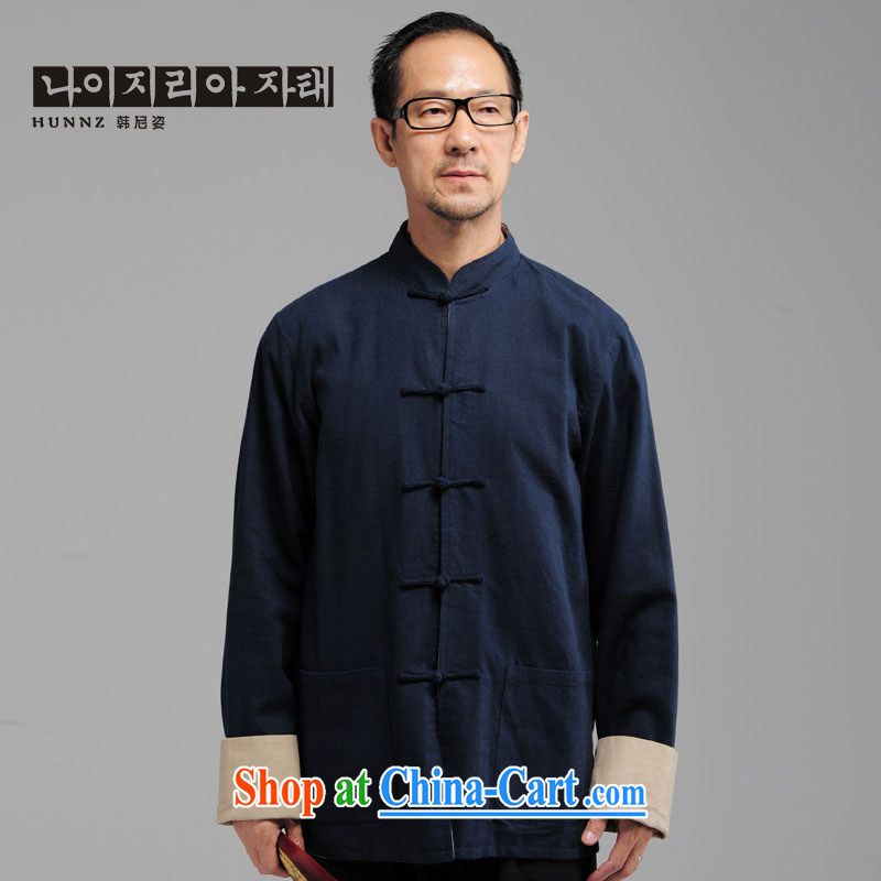 Products HANNIZI new middle-aged and older men's natural cotton the long-sleeved China wind Tang is a collar-tie jacket T-shirt dark blue XXXXL