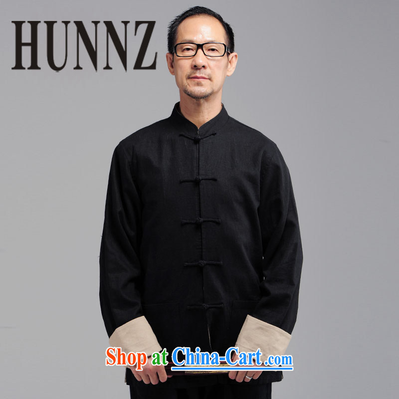 Products HUNNZ new middle-aged and older men's natural cotton the long-sleeved China wind Tang is a collar-tie jacket coat black XXXXL