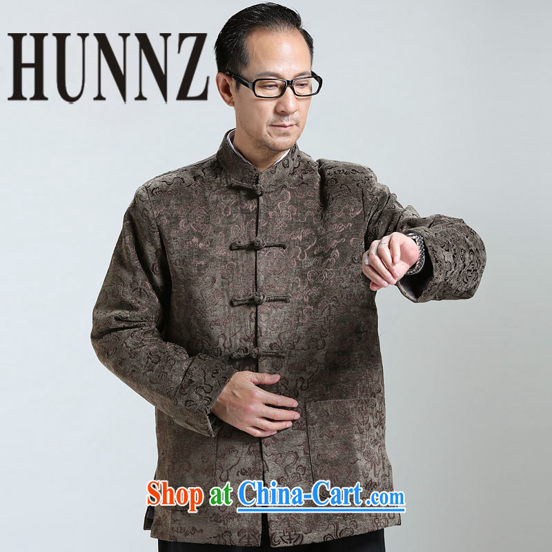 Products HUNNZ 2015 New Men's classical Chinese style Chinese elderly in long-sleeved sweater jacket Chinese male brown XXXXL