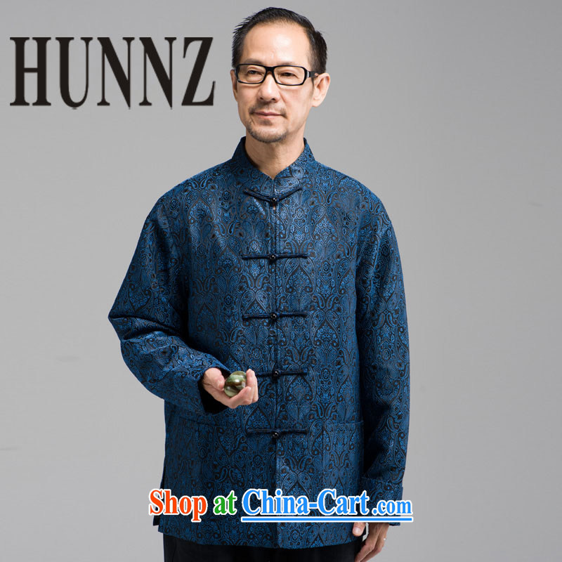 Products HUNNZ new and classic embroidery Chinese Tang in older men, long-sleeved clothing jacket and collar-buckle clothing dark blue XXXXL