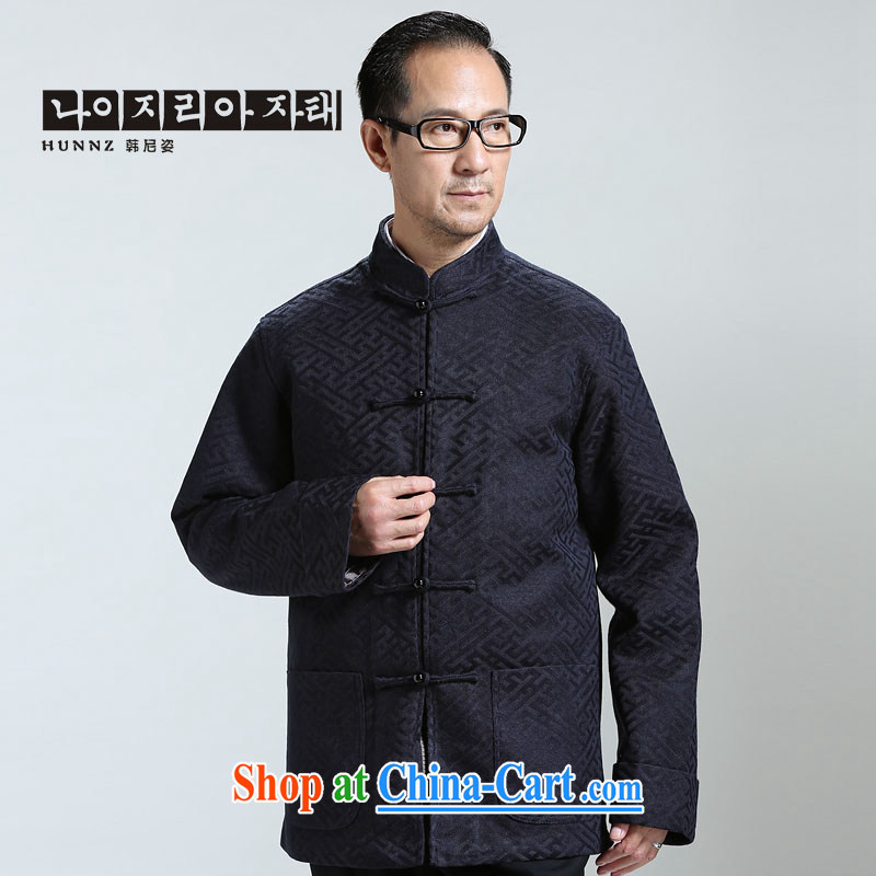 Products HANNIZI new middle-aged and older men's Long-Sleeve is detained Tang jackets China wind Han-T-shirt the T-shirt dark blue XXXXL, Korea, (hannizi), online shopping