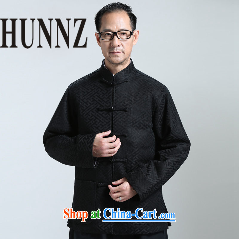Products HUNNZ new middle-aged and older men's Long-Sleeve is detained Tang jackets China wind Han-T-shirt the T-shirt black XXXXL