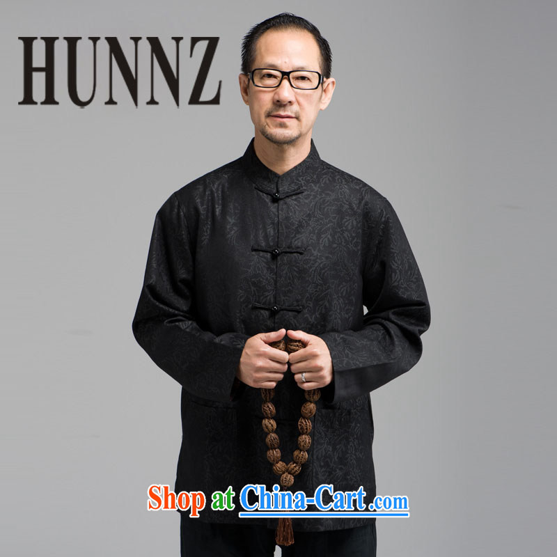Who are the HUNNZ older men's long-sleeved-buckle up for Chinese China wind stage with his father had black XXXXL
