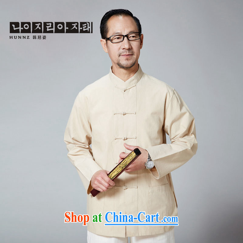 Products HANNIZI New China wind classical Chinese old muslin-charge-back the collar long-sleeved solid color jacket father yellow 190