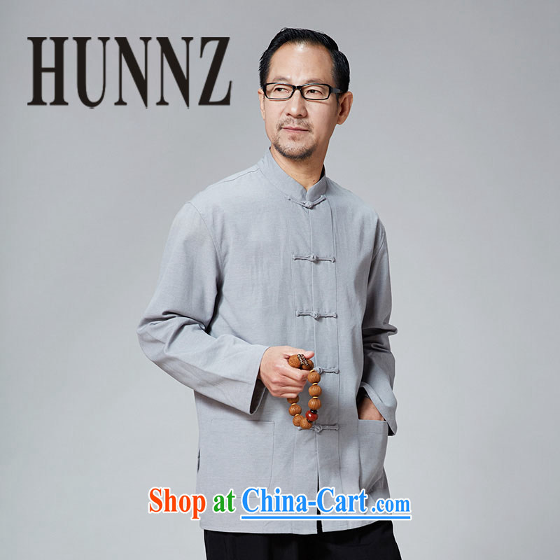 Products HUNNZ New China wind classical Chinese old muslin-charge-back the collar long-sleeved solid color jacket father with light blue 190