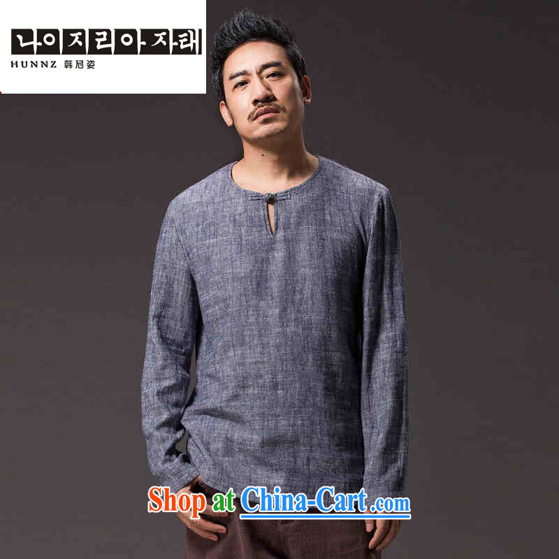 Products HANNIZI new natural linen men's Chinese Ethnic Wind classic elegance simple and plain-colored long-sleeved T-shirt gray XXXXL