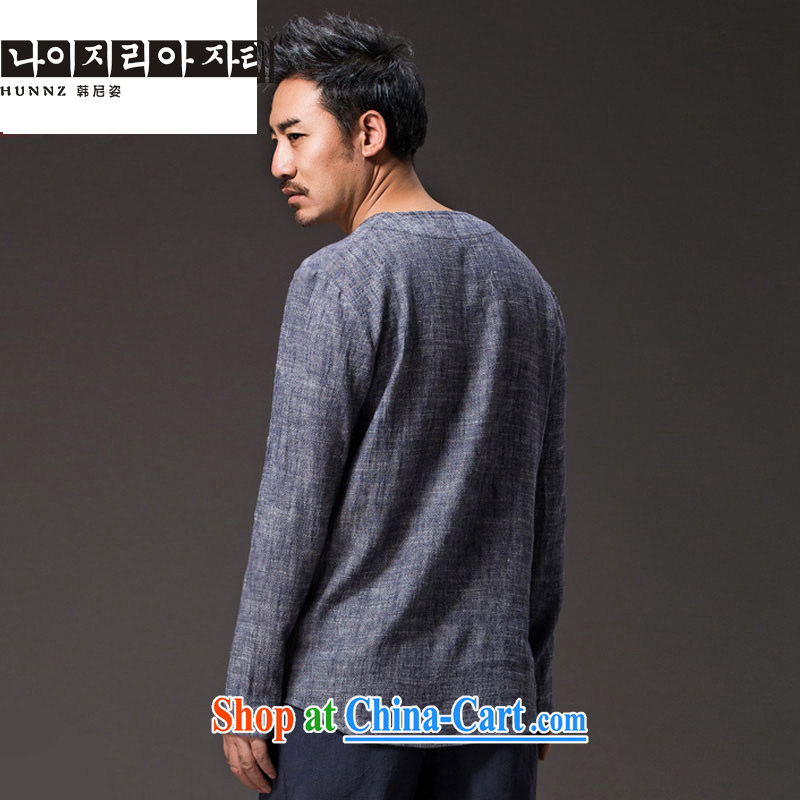 Products HANNIZI new natural linen men's Chinese Ethnic Wind classic elegance simple plain colored long-sleeved T-shirt gray XXXXL, Korea, colorful (hannizi), online shopping