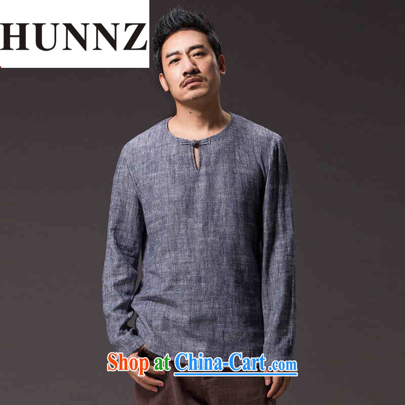 Products HUNNZ new natural linen men's Chinese Ethnic Wind classic elegance simple and plain-colored long-sleeved T-shirt gray XXXL