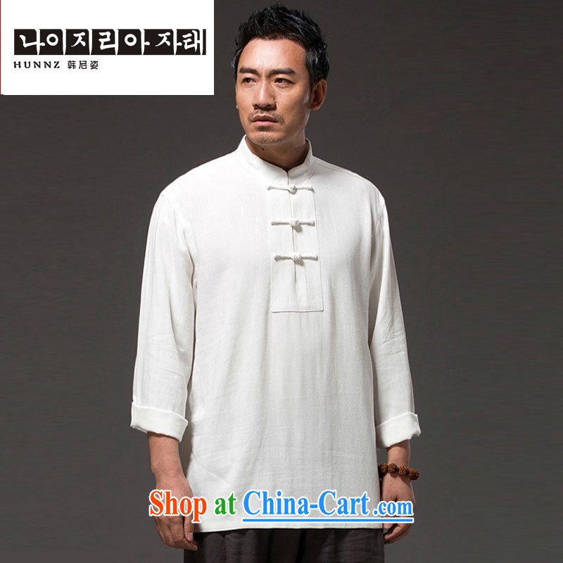 Products HANNIZI 2015 new natural linen Solid Color Lounge Chinese Chinese style classical Chinese Chinese Kung Fu shirt white XXXXL