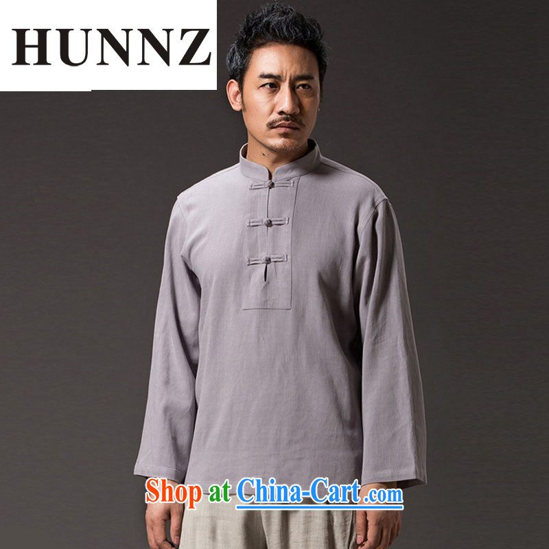 Products HUNNZ 2015 new natural linen Solid Color Lounge Chinese Chinese style classical Chinese Chinese Kung Fu shirt gray XXXXL