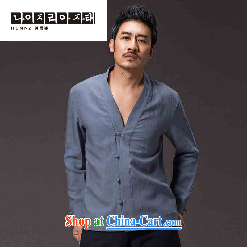 Products HANNIZI New China wind men's cynosure serving classic Chinese solid-colored long-sleeved cotton Ma Han-kung fu uniform jacket blue XXXXL