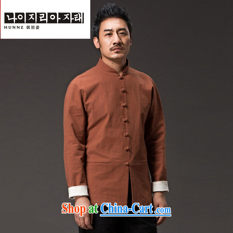 Products HANNIZI New solid color natural cotton the casual long-sleeved T-shirt classic kung fu uniform men and monks, men Tang with orange XXXXL