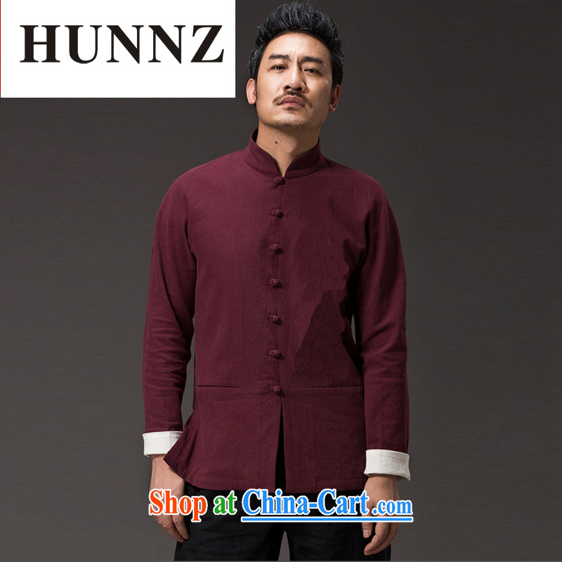 Products HUNNZ New solid color natural cotton the casual long-sleeved T-shirt classic kung fu uniform men and monks, men Tang with deep red XXXXL