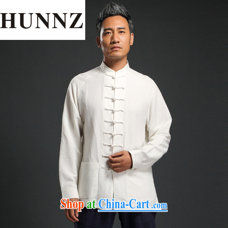 Products HUNNZ natural linen Solid Color casual loose long-sleeved China wind men Tang on the buckle up for men and Han-white XXXXL
