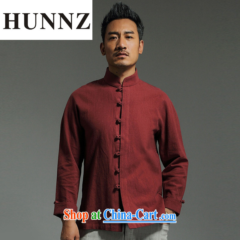 Products HUNNZ cotton the Chinese Han-Chinese style dress and Tang with minimalist beauty, for the charge-back long-sleeved deep red XXXL