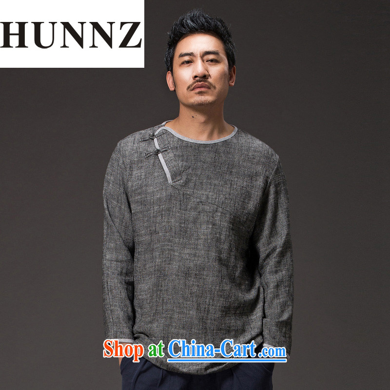 Products HUNNZ China wind cotton the tea serving Chinese long-sleeved improved Han-cynosure practice serving loose ends a T-shirt and gray XXXXL