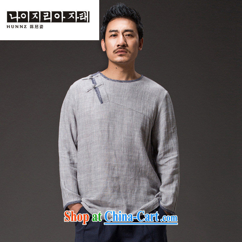 Products HANNIZI China wind cotton the tea serving Chinese long-sleeved improved Han-cynosure practice serving loose ends a T-shirt and light gray XXXXL