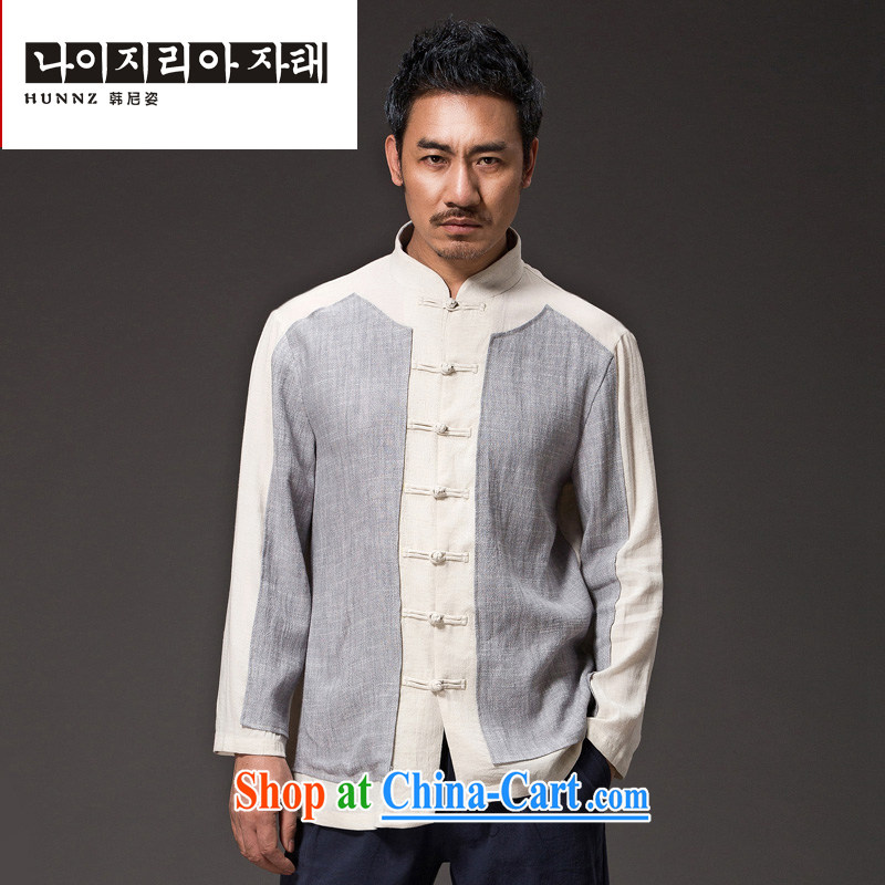 Products HUNNZ Chinese natural linen men Han-relaxed and stylish spell color Simple Chinese-tie men's gown light gray XXXXL