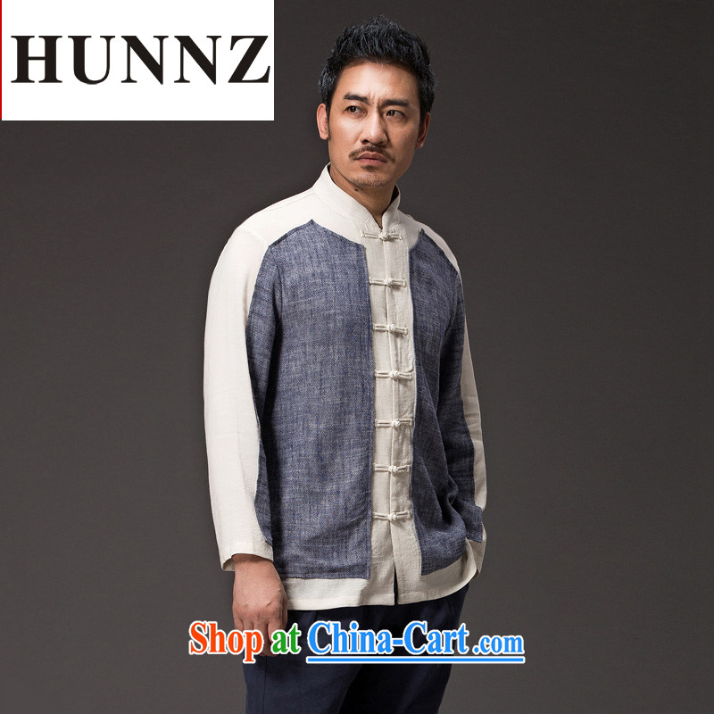 Products HUNNZ Chinese natural linen men Han-relaxed and stylish spell color simple Tang on the tie and gown gray XXXXL, HUNNZ, shopping on the Internet