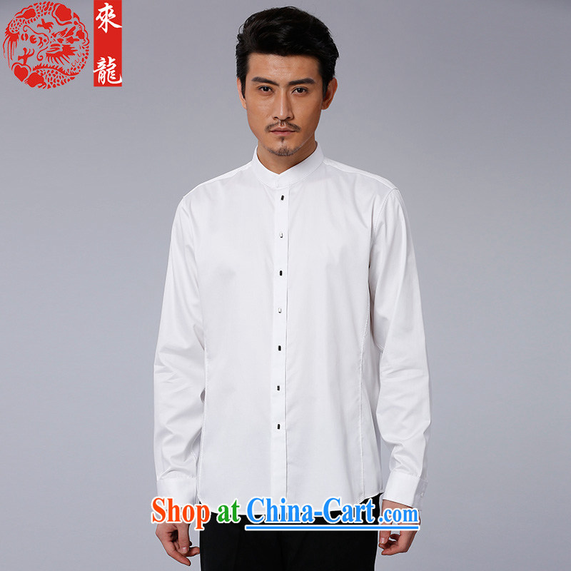 To Kowloon Chinese autumn 2015 New China wind men's cotton casual long-sleeved T-shirt 15,176 white white 50