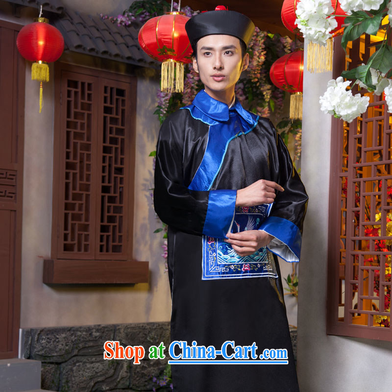Time SYRIAN ARAB costumes clothing and fashion the Qing Dynasty eunuch zombie clothing 10,000 Halloween fashion show clothes bodyguards serving minister qing dynasty clothing dark blue adult, 160 - 175 CM