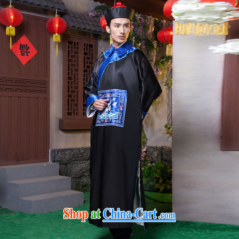 Time SYRIAN ARAB costumes clothing and fashion the Qing Dynasty eunuch zombie clothing 10,000 Halloween fashion show clothes bodyguards serving minister qing dynasty clothing dark blue adult, 160 - 175 CM, time, and shopping on the Internet