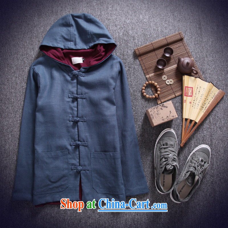 Dan Jie Shi 2015 New National wind Chinese male Chinese style of the snap hoodie retro ethnic wind jacket men's casual stylish Peacock Blue M