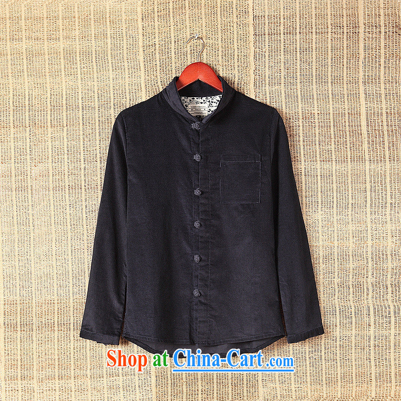 Dan Jie Shi 2015 New National wind leisure shirt long-sleeved male and antique Chinese autumn and the casual stylish China wind-tie shirt fall and winter with the Tibetan cyan L