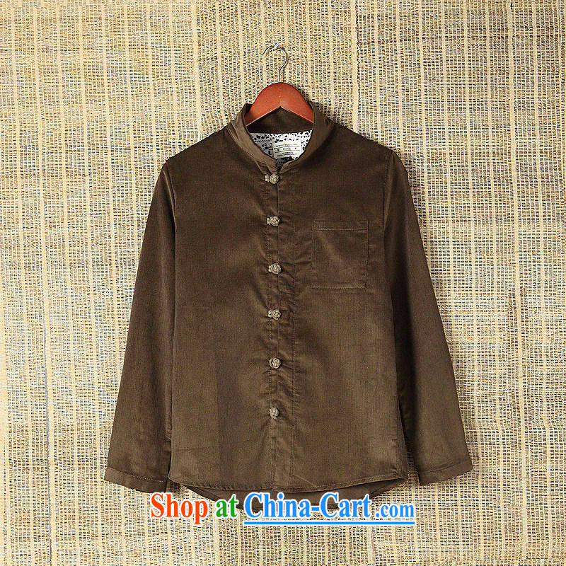 Dan Jie Shi 2015 New National wind leisure shirt long-sleeved male and antique Chinese autumn and the casual stylish China wind-tie shirt fall and winter with the Tibetan cyan L, Dan Jie Shi (DAN JIE SHI), online shopping