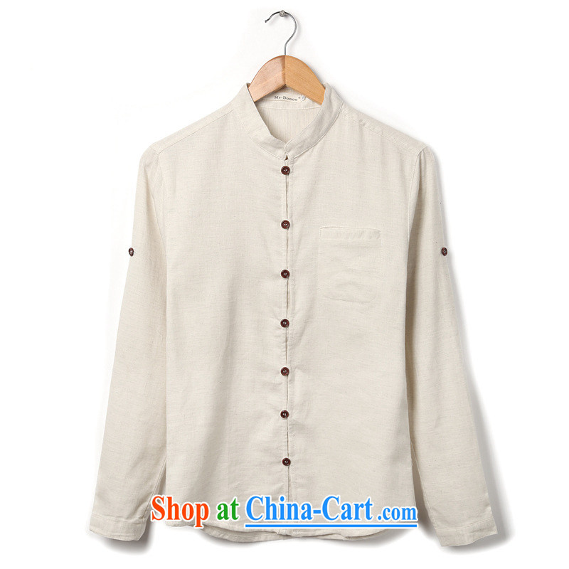Dan Jie Shi 2015 New National wind men's casual shirt stylish and comfortable white L