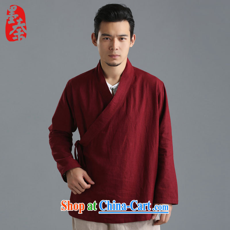 The Qin original 2015 autumn fashion new linen men's clothing T-shirt plain colored long-sleeved shirt T National wind, served 081,304 mfby white XL/large, and the Qin, shopping on the Internet