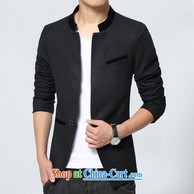 Dan Jie Shi 2015 new Sun Yat-sen youth with autumn the new Korean Beauty suit men's jackets small suit casual stylish, comfortable black 2 XL