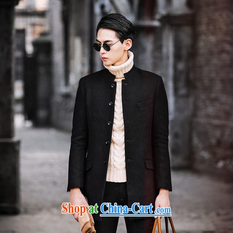 Dan Jie Shi 2015 New boutique luxury men cultivating smock? In the long wind jacket men's jackets jacket casual stylish black 54 _XXL_