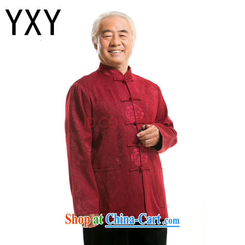 Light the End old men long-sleeved Chinese Chinese T-shirt jacket DY 727 red XXL