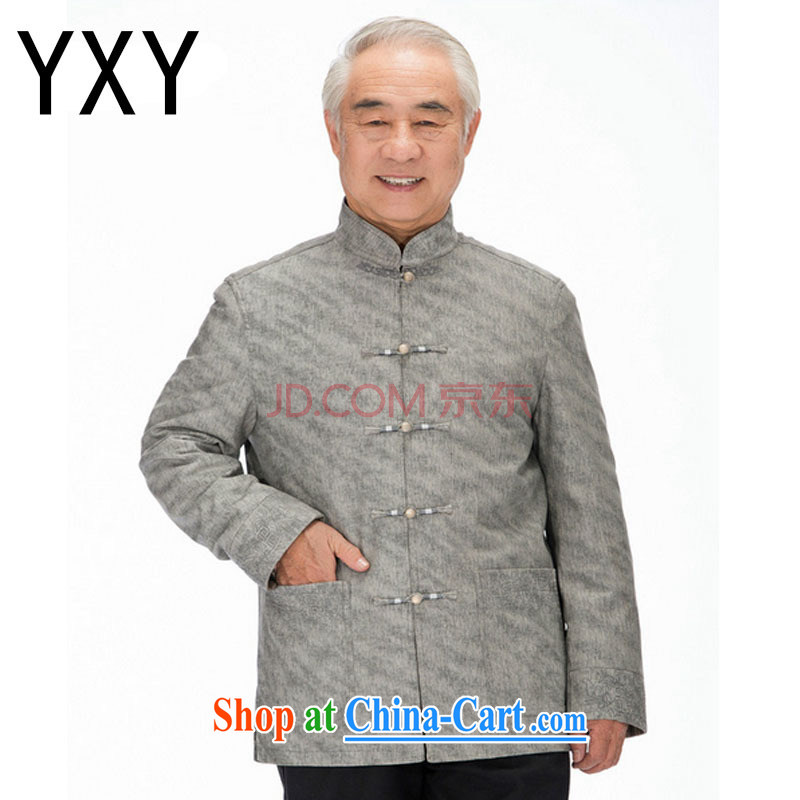light at the Chinese improved the ribbed men's washable leather Chinese elderly in leisure PU jacket DY 1322 khaki M