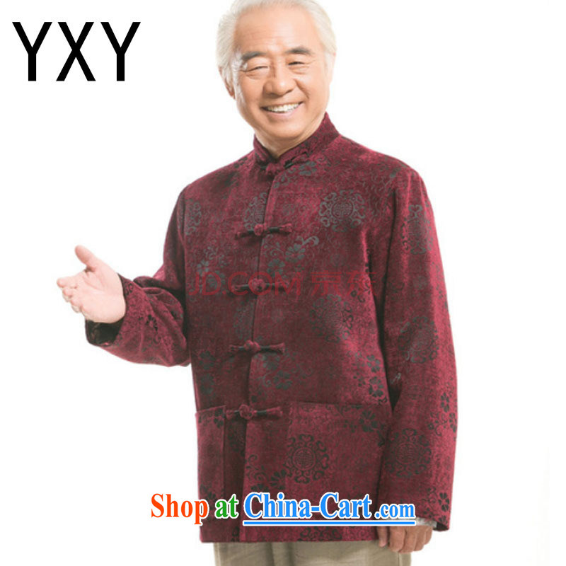 Shallow end China wind round hi jacket older leisure Chinese men's long-sleeved T-shirt DY 9823 red XXXL