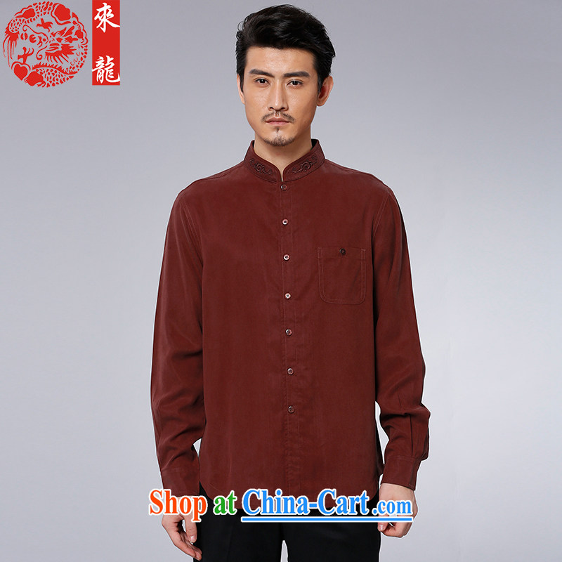 To Kowloon Chinese autumn 2015 New China wind men's day long-sleeved casual shirt 15,592 dark red dark red 50