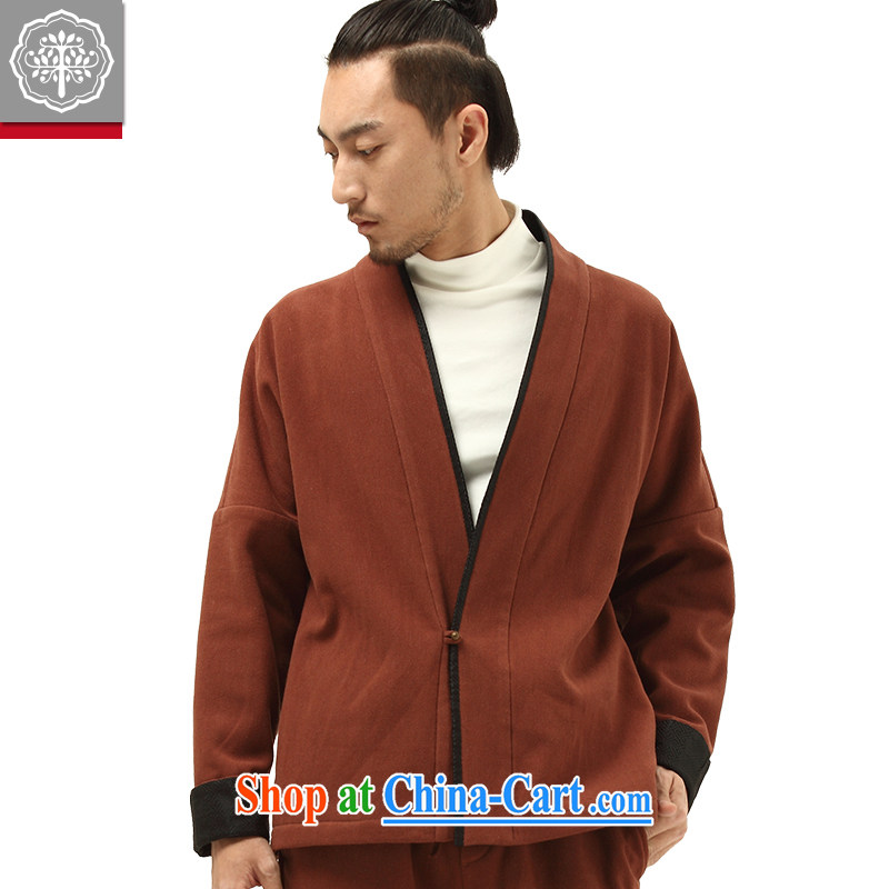 To tree China wind fall/winter new Chinese male-han-improved long-sleeved cotton Ma men's T-shirt stone ochre color 185/XXL