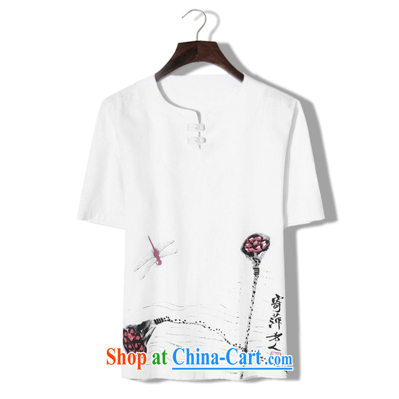 Where Kosovo, Mr Rafael Hui 2015 the code and a short-sleeved shirt male China wind antique ethnic wind personalized linen 5 cuff T shirts and white lotus 4 XL (180 - 190 ) jack
