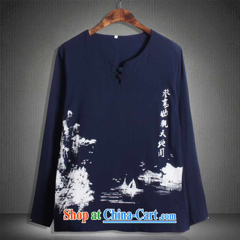 Where Kosovo Mr Rafael Hui 2015 cotton Ma China wind National wind Lotus Mountain stamp round-collar XL men's long-sleeved T-shirt male MY 02 Blue Mountains 5 XL (200 - 210 ) jack