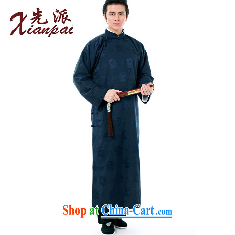 First Spring New Products Chinese men's high-end dress gown dress crosstalk Chinese Cheongsams stylish Chinese wind in older long-sleeved double-shoulder retro traditional XL blue circle robe XXL new pre-sale 5 day shipping