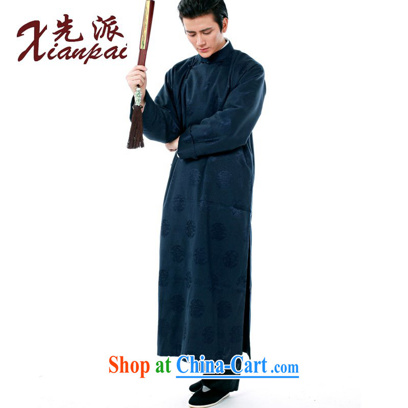 First Spring New Products Chinese men's high-end dress gown dress comic dialog Chinese Cheongsams stylish Chinese wind older long-sleeved double-shoulder retro traditional XL blue circle robe XXL new pre-sale 5 Day Shipping, to send (xianpai), online shop