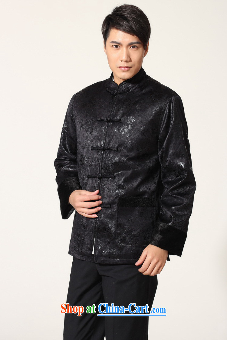 An Jing men's jacket water marten hairs Tang with the lint-free cloth Chinese men's long-sleeved jacket Chinese Dragon Chinese T-shirt - B dark blue XXL pictures, price, brand platters! Elections are good character, the national distribution, so why buy now enjoy more preferential! Health