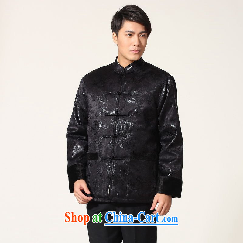 An Jing men's jacket water marten hairs Tang with the lint-free cloth Chinese men's long-sleeved jacket Chinese Dragon Chinese T-shirt - B dark blue XXL